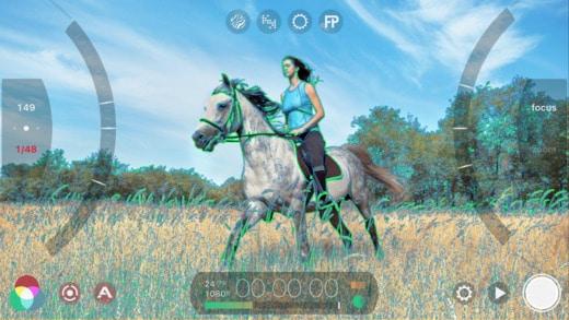 Focus peaking in una schermata di Filmic Pro