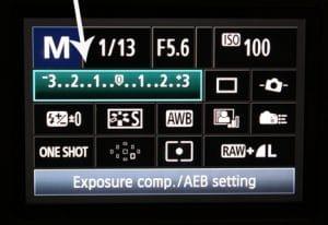 Esposimetro di una macchina fotografica